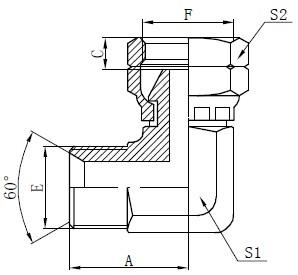 Dessin du connecteur coudé BSP