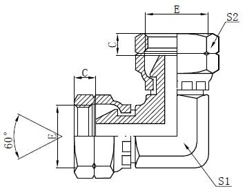 Dessin d'adaptateur de coude femelle BSP