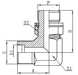 Dessin d'adaptateurs hydrauliques de coude